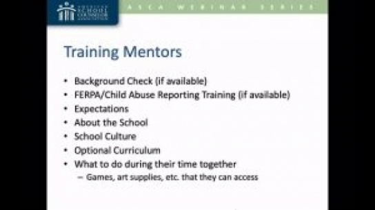 Create a School-Based Mentor Program