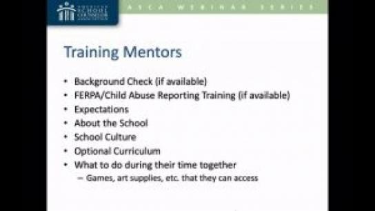 Create a School-Based Mentor Program