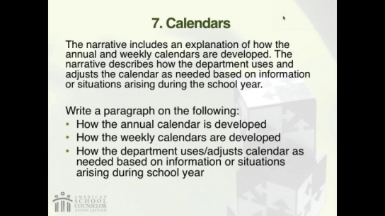 RAMP Scoring Rubric Webinar: Section 7 - Calendars