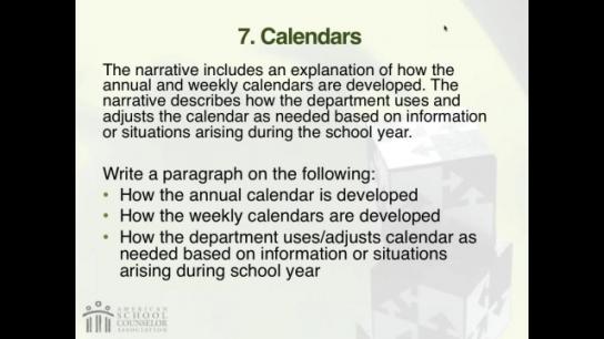 RAMP Scoring Rubric Webinar: Section 7 - Calendars