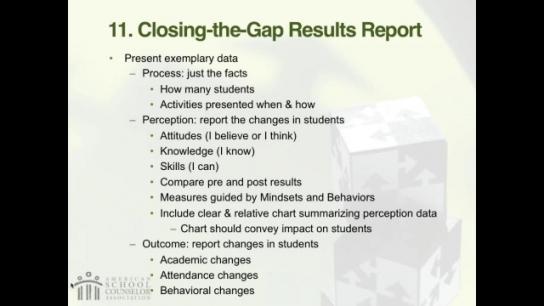 RAMP Scoring Rubric Webinar: Section 11 - Closing-the-Gap Results Report